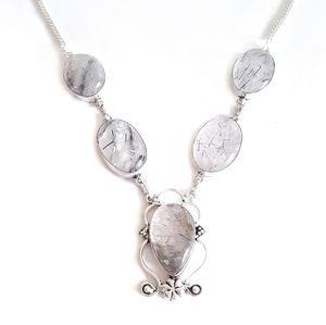 Sterling silver rutilated quartz necklace